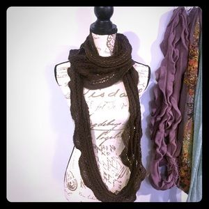 Brown With Gold Long Infinity Scarf